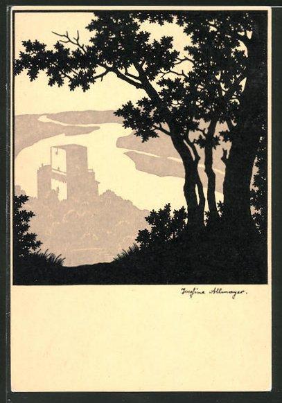 Künstler-AK Josefine Allmayer: Scherenschnitt, Landschaft mit Burg