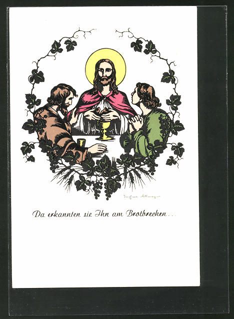Künstler-AK Josefine Allmayer: Scherenschnitt, Da erkannten sie Ihn am Brotbrechen..., Christus