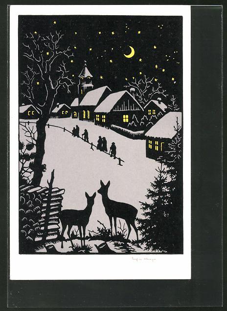 Künstler-AK Josefine Allmayer: Scherenschnitt, Weihnachtsidyll mit Rehen