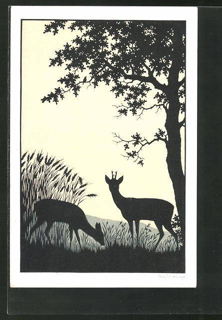 Künstler-AK Josefine Allmayer: Scherenschnitt, Rehe unter Baum