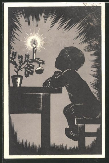 Künstler-AK Josefine Allmayer: Scherenschnitt, Kind mit Kerze
