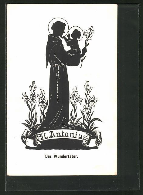 Künstler-AK Josefine Allmayer: Scherenschnitt, St. Antonius, der Wundertäter