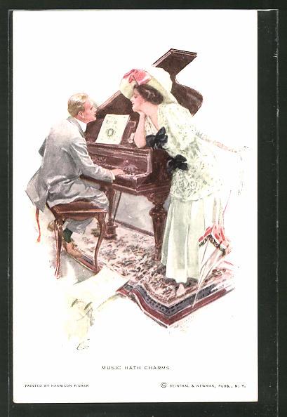 Künstler-AK Harrison Fisher: Music hath Charms, Dame und Klavierspieler