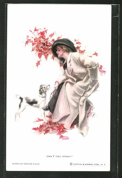 Künstler-AK Harrison Fisher: Can't you speak, junge Dame und Terrier