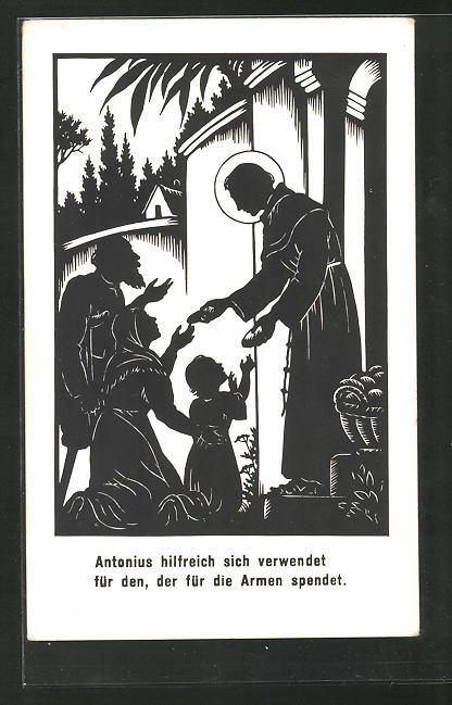 Künstler-AK Josefine Allmayer: Scherenschnitt, Antonius hilfrich sich verwendet für den, der für die Armen spendet