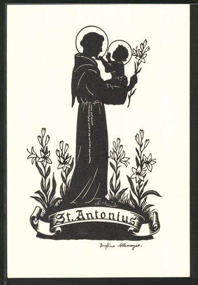 Künstler-AK Josefine Allmayer: Scherenschnitt, St. Antonius, Heiliger