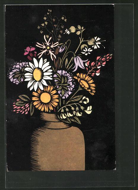 Künstler-AK Josefine Allmayer: Scherenschnitt, Blumenvase