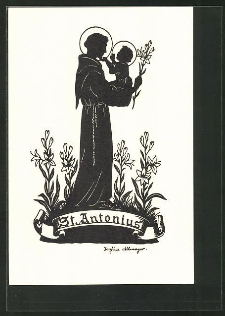 Künstler-AK Josefine Allmayer: Scherenschnitt, St. Antonius, Kathol. Heiliger