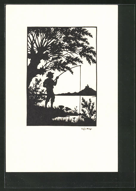 Künstler-AK Josefine Allmayer: Scherenschnitt, junger Angler