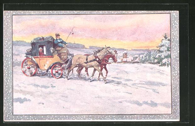 Künstler-AK Postkutsche in einer Winterlandschaft