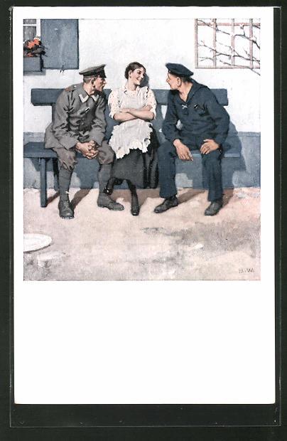 Künstler-AK Brynolf Wennerberg: Junge Frau schäkert mit Soldat und Matrose,