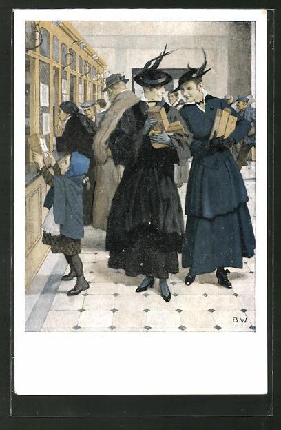 Künstler-AK Brynolf Wennerberg: Damen geben Pakete beim Postamt auf,