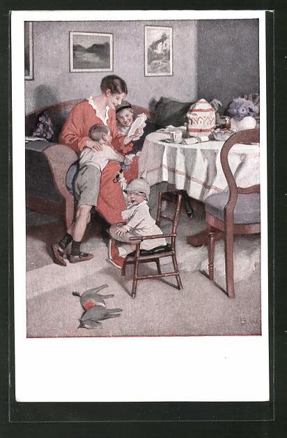 Künstler-AK Brynolf Wennerberg: Mutter liest den Kindern vor,