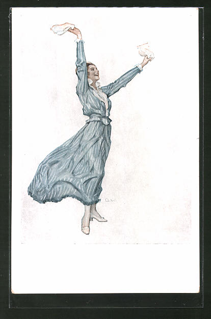 Künstler-AK Brynolf Wennerberg: Junge Damen winkt mit Taschentüchern,