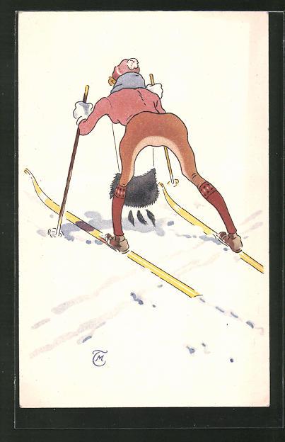 AK Dame versucht sich am Skifahren