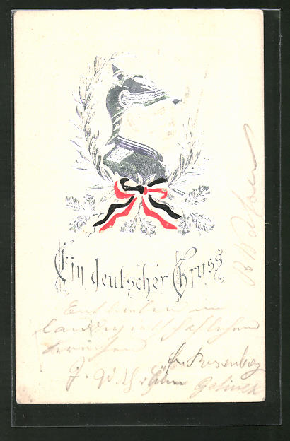 Präge-AK Portrait Fürst Otto von Bismarck mit Pickelhaube,