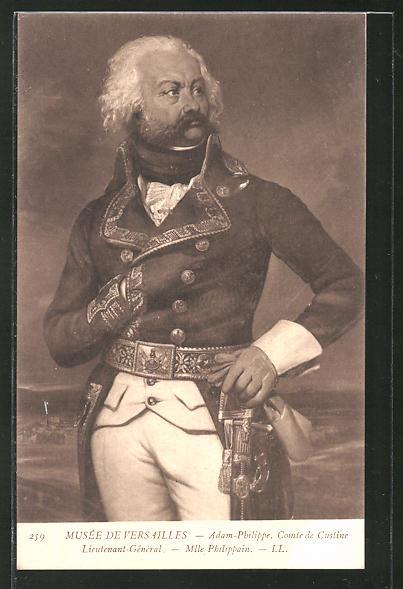 AK Halbportrait Generalleutnant Adam-Philipp, Comte de Custine, französische Revolution