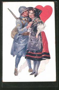 AK Französischer Soldat mit Elsässerin in Tracht, Herz Dame beim Kartenspiel