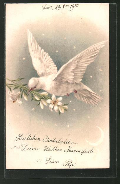 AK Weisse Taube mit Lilien im Schnabel