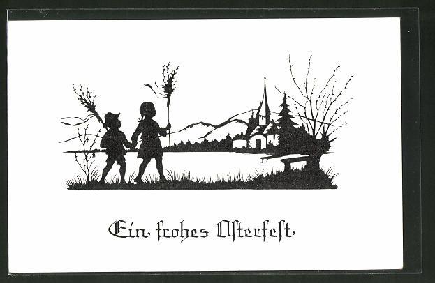 Künstler-AK Josefine Allmayer: Scherenschnitt Serie I., Nr. 6: