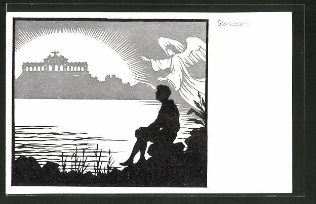 Künstler-AK Josefine Allmayer: Scherenschnitt aus dem Kaiser-Karl-Gedächtnis-Kalender Nr. 4: Heimatvision