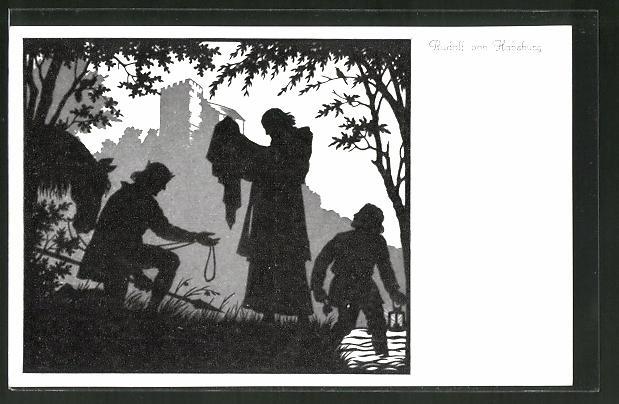 Künstler-AK Josefine Allmayer: Scherenschnitt aus dem Kaiser-Karl-Gedächtnis-Kalender Nr. 3: Rudolf von Habsburg