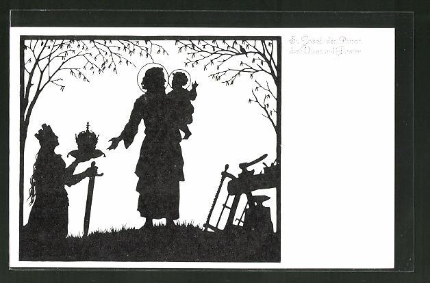 Künstler-AK Josefine Allmayer: Scherenschnitt aus dem Kaiser-Karl-Gedächtnis-Kalender Nr. 2: St, Josef