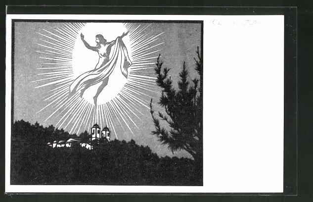 Künstler-AK Josefine Allmayer: Scherenschnitt aus dem Kaiser-Karl-Gedächtnis-Kalender Nr. 1: Ostern auf Madeira