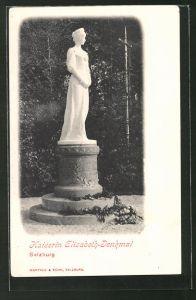 AK Salzburg, Partie am Denkmal der Kaiserin Elisabeth (Sissi) von Österreich