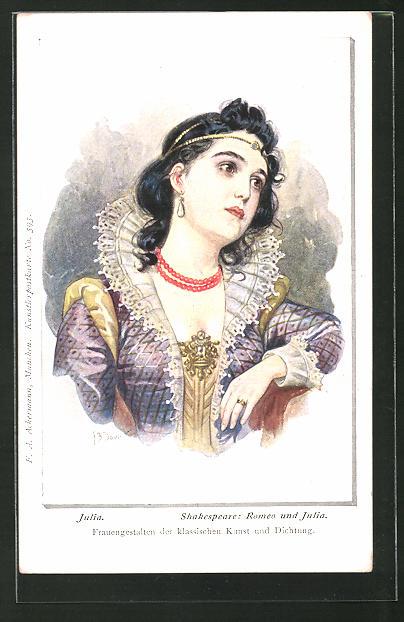 Künstler-AK Franz Doubek: Shakespeares Julia, Jugendstil