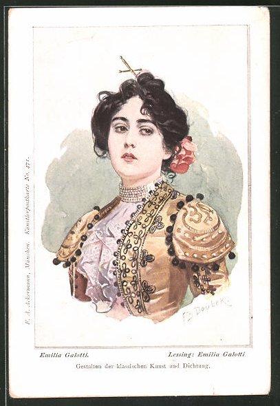 Künstler-AK Franz Doubek: Bildnis der Emilia Galotti aus Lessings gleichnamigem Roman