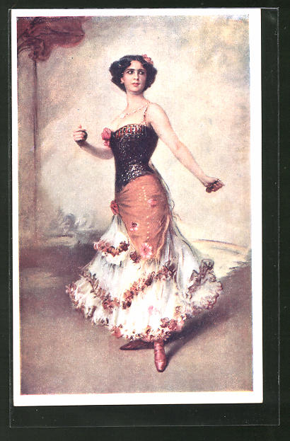 Künstler-AK Hermann Kaulbach: Flamencotänzerin mit Kastagnetten