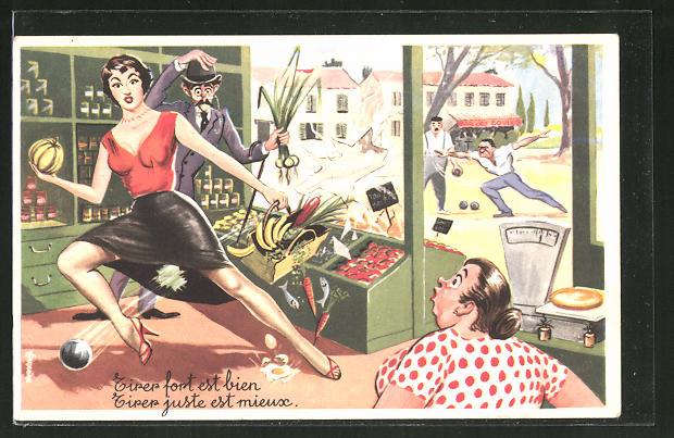 AK Boules-Spieler werfen die Scheibe ein und treffen eine Frau am Obststand