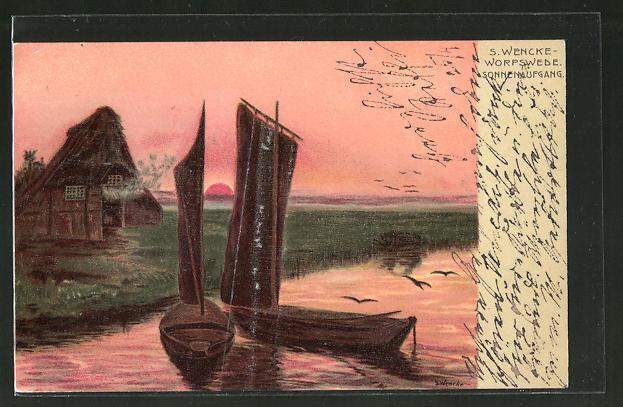 Künstler-AK Sophie Wencke: Sonnenaufgang mit Segelbooten