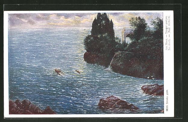 Künstler-AK Willy Straka: Am Meer
