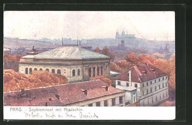 Künstler-AK Jaroslav Setelik: Prag, Sophieninsel mit Hradschin