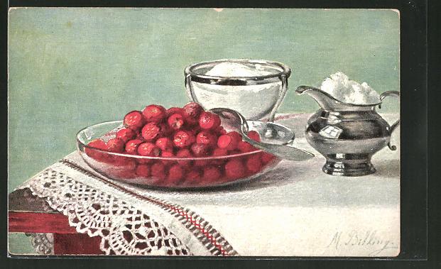 Künstler-AK M. Billing: Stillleben mit Erdbeeren und Sahnekännchen