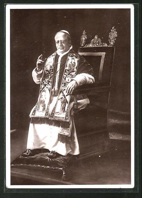 AK Papst Pius XI. auf dem päpstlichen Thron