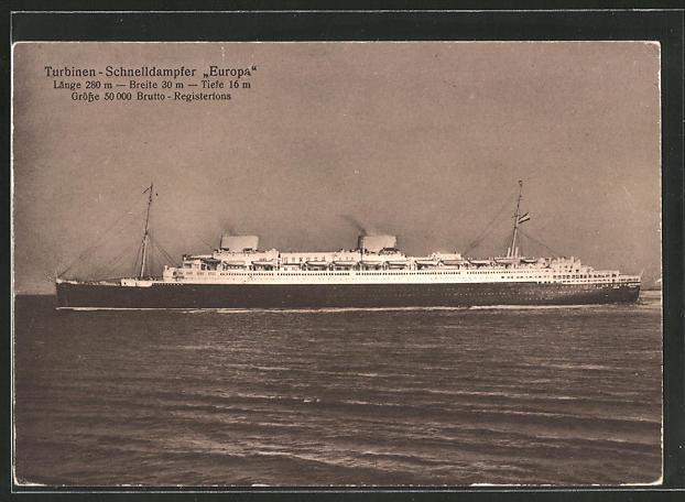 AK Passagierschiff Europa auf hoher See