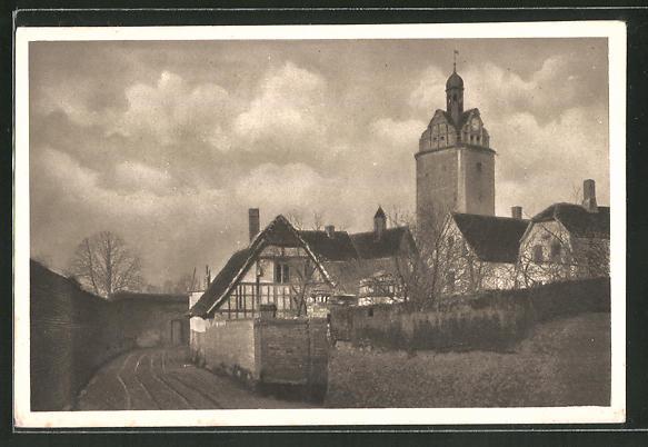 AK Delitzsch, Stadtmauer am Halleschen Turm