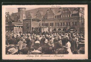 AK Leipzig, Reges Treiben am alten Rathaus, Ecke Grimmaische und Petersstrasse