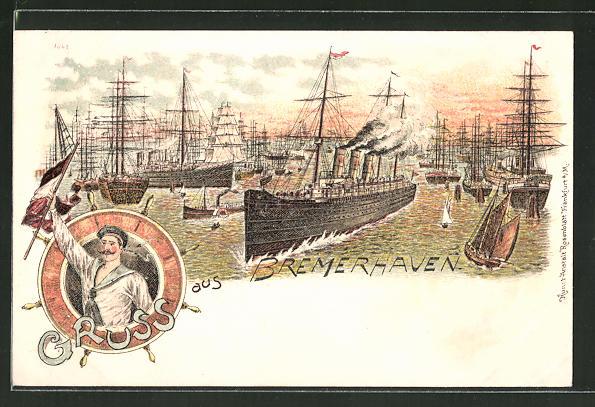 Lithographie Bremerhaven, Dampfer und Segelschiffe auf der Weser, Matrose im Steuerrad