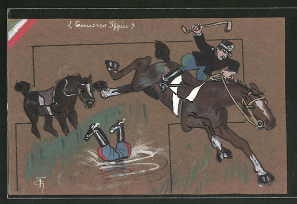 Künstler-AK Handgemalt: Reiter stürzt vom Pferd in Wassergraben