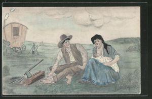 Künstler-AK Handgemalt: Mann mit Hut und Frau in Tracht stillt ihr Kind