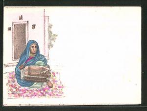 Künstler-AK Handgemalt: Frau mit Kopftuch