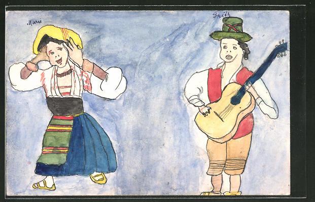 Künstler-AK Handgemalt: Frau in Tracht hält sich die Ohren zu, Mann in Lederhose spielt Gitarre