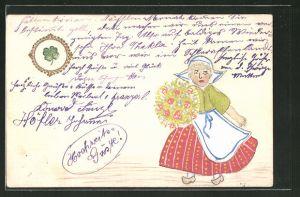 Künstler-AK Handgemalt: Frau in Tracht mit Blumenstrauss