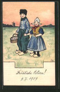 Künstler-AK Handgemalt: Frau in Tracht mit Holzschuhen & Mann mit Holzschuhen, Händchen haltend