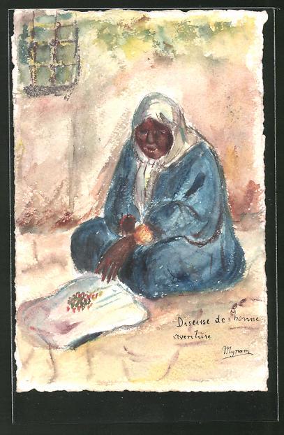 Künstler-AK Handgemalt: Frau in traditioneller Kleidung mit Kopfbedeckung