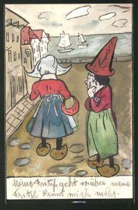 Künstler-AK Handgemalt: Frau in Tracht und Holzschuhen, Mann mit Hut und Holzschuhen